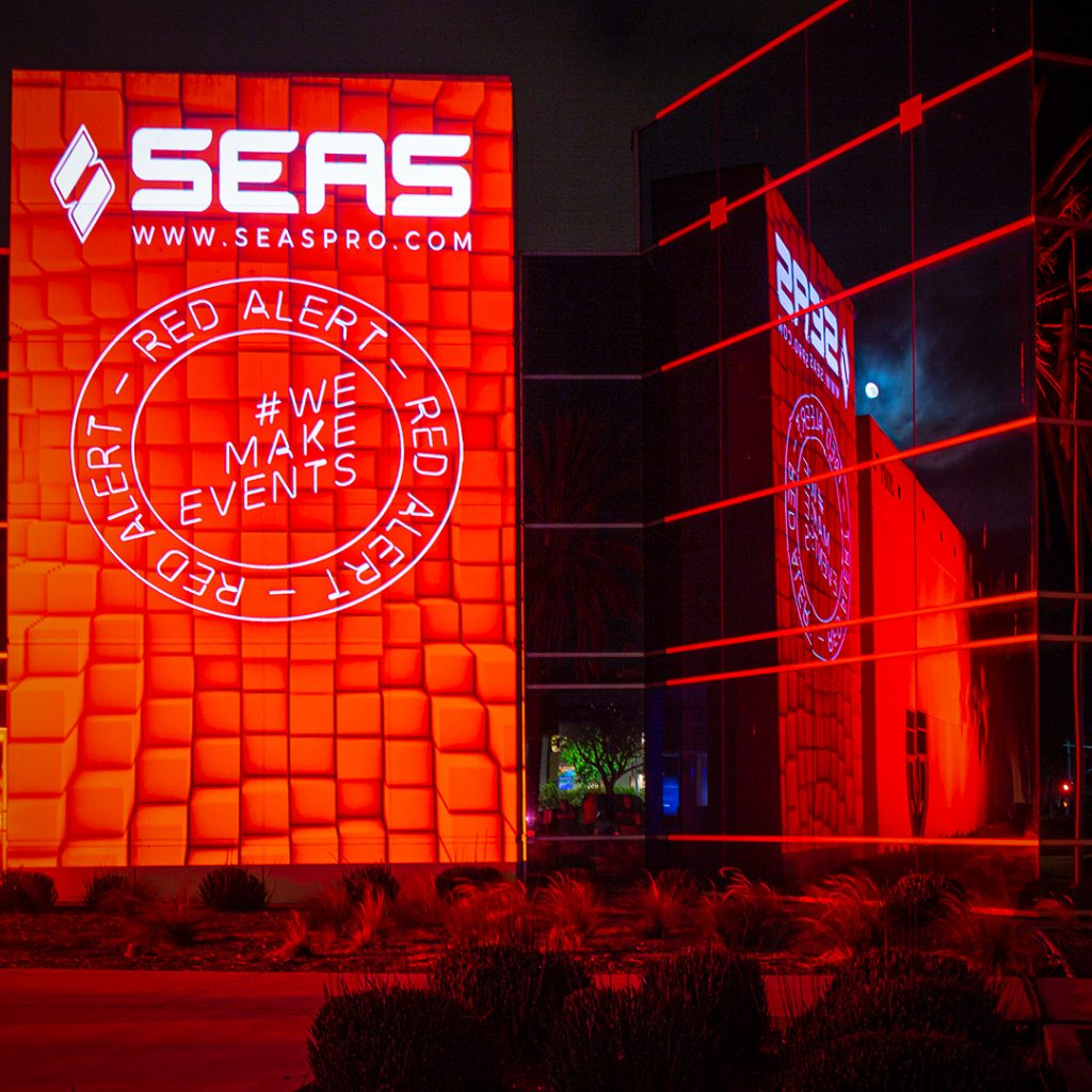 SEAS Building Lit Red for #WeMakeEvents